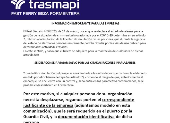 Información para empresas Covid-19